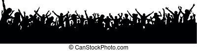 Una gran multitud de fans silueta