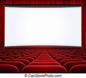 Una gran pantalla de cine con cortina roja y asientos