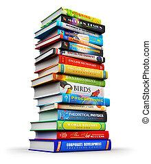 Una gran pila de libros de colores