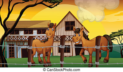 Una granja con dos caballos