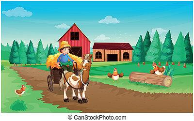 Una granja con un granjero y sus mascotas