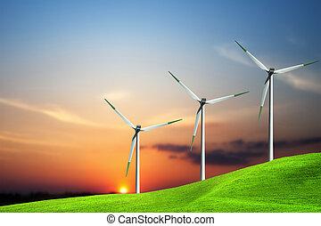 Una granja de turbinas de viento al atardecer