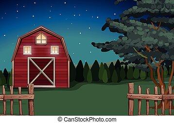 Una granja en la granja por la noche