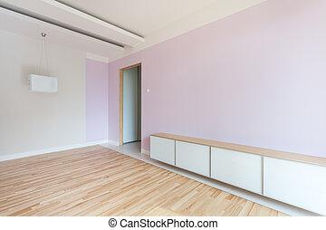 Una habitación espaciosa en colores pastel