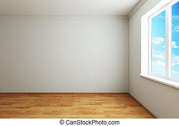 Una habitación vacía con ventana