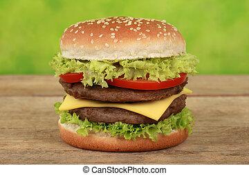 Una hamburguesa doble