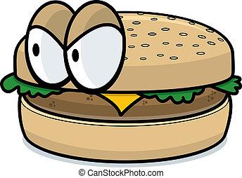 Una hamburguesa enojada