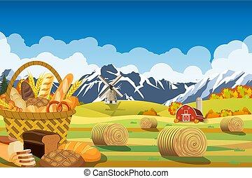 Una hermosa escena de la granja de otoño
