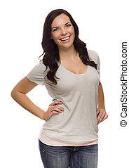 Una hermosa hembra de raza mixta aislada en un fondo blanco