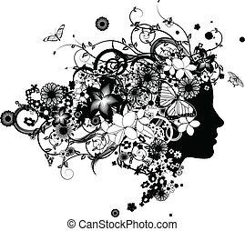 Una hermosa mujer con cabello de flores