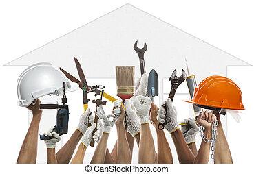 Una herramienta de trabajo de mano y hogar contra el diseño de la casa