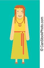 Una hippie graciosa con flores en el pelo y signo pacifista