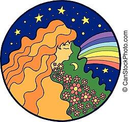 Una hippie psicodélica con flores en el pelo