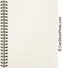 Una hoja de cuaderno en blanco