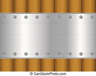 Una hoja de metal y un fondo de madera