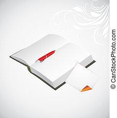 Una hoja de notas abierta con un bolígrafo