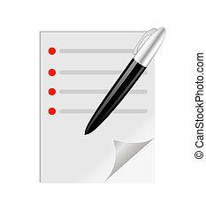 Una hoja de prueba con un bolígrafo en blanco