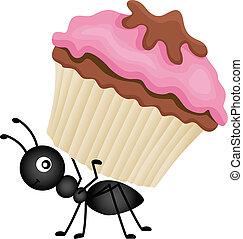 Una hormiga llevando magdalena