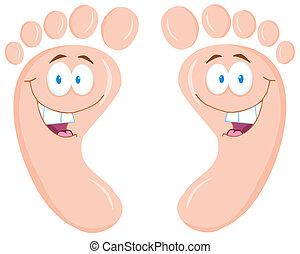 Una huella de pie feliz