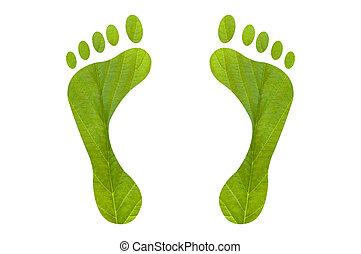 Una huella de pie verde humana