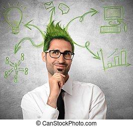 Una idea creativa de un hombre de negocios