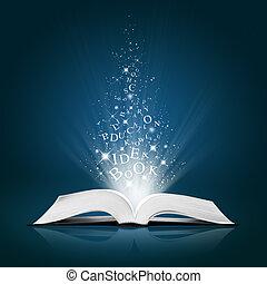 Una idea de texto sobre un libro blanco abierto