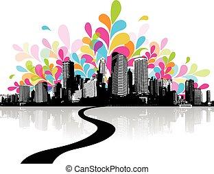 Una ilustración abstracta con la ciudad.