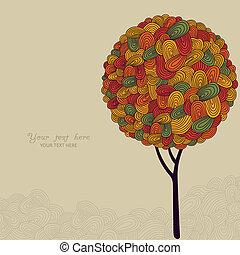 Una ilustración abstracta del árbol de otoño hecha de olas para tu diseño