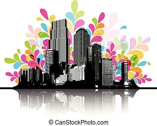 Una ilustración abstracta y colorida con paisaje urbano.