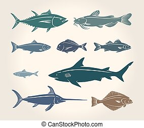 Una ilustración antigua de peces