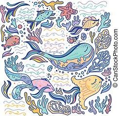 Una ilustración colorida del mar