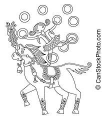 Una ilustración de arte en línea blanca y negra del tema del circo, una jarra de chica