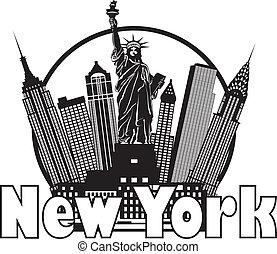 Una ilustración de círculos en Nueva York