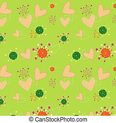 Una ilustración de corazones coloridos, papel de pared floral