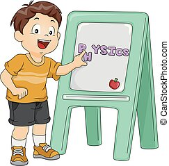 Una ilustración de la junta de física de niños