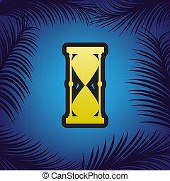 Una ilustración de signos de reloj de arena. Vector. Un icono dorado con un punto negro