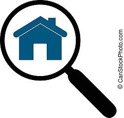 Una ilustración de una lupa y una silueta de una casa