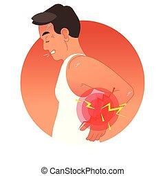 Una ilustración de vectores de vectores con el torso humano. Sobrecarga de trabajo o lesión deportiva.