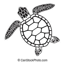Una ilustración gráfica de una tortuga marina