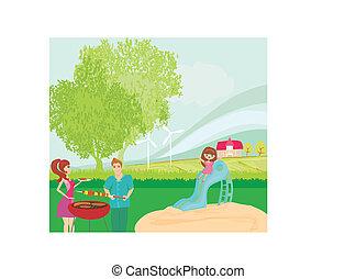 Una ilustración vectorial de una familia teniendo un picnic