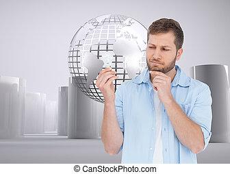 Una imagen compuesta de un modelo escéptico sosteniendo una bombilla