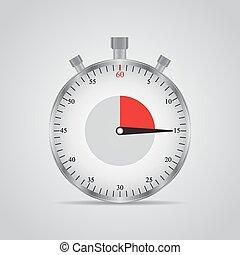 Una imagen realista de un cronómetro deportivo. Competencia de símbolos. Icon aislado en el fondo gris