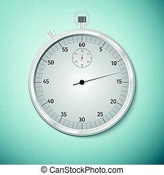 Una imagen realista de un cronómetro deportivo. Competencia de símbolos. Icon aislado en el fondo azul. Ilustración de vectores.