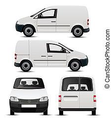 Una imitación de vehículo comercial blanco