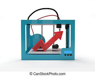 Una impresora 3D con una flecha roja
