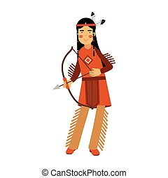 Una india nativa americana con un traje tradicional posando con una ilustración vectorial de arco