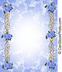 Una invitación a la boda de rosas azules
