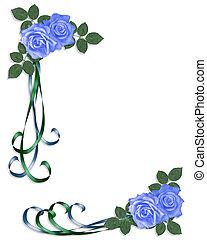 Una invitación a la boda rosas azules corne