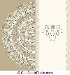 Una invitación a la cosecha del vector con servilleta de encaje
