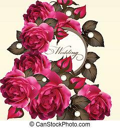 Una invitación de boda con rosas